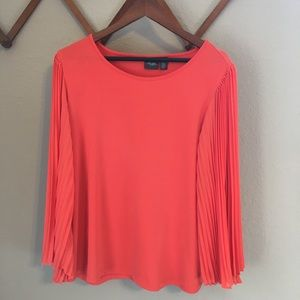 Chico's Orange Blouse with Accordion Bell Sleeves